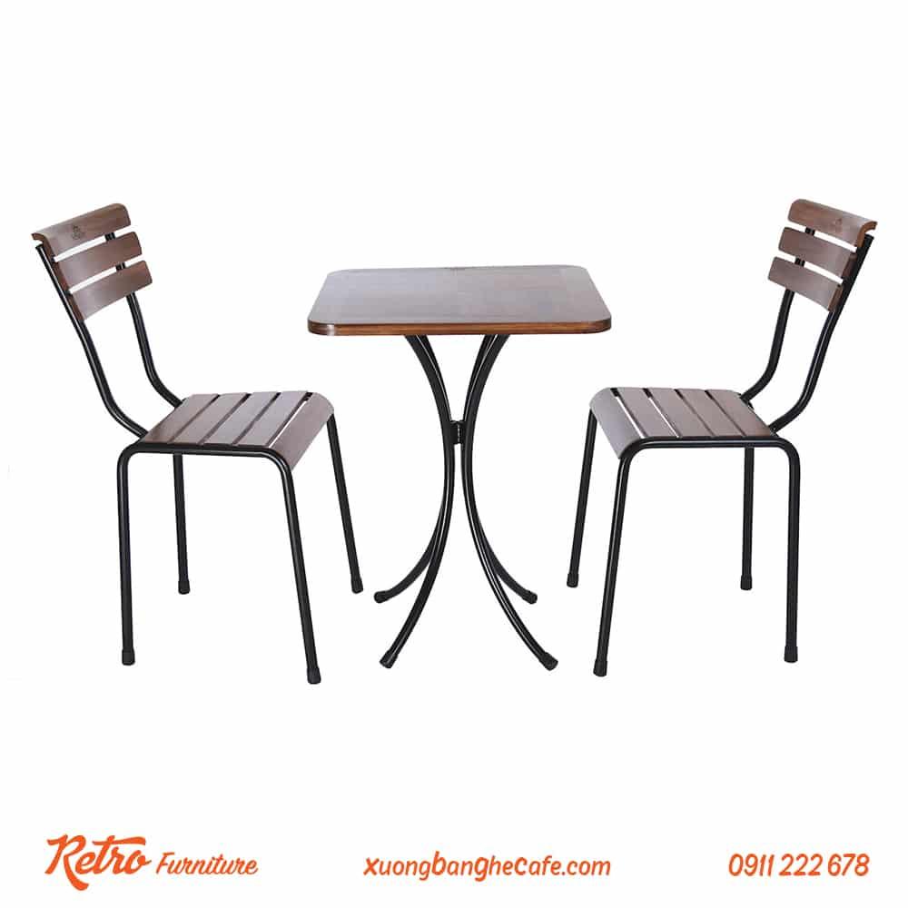 bàn ghế quán cafe chân sắt