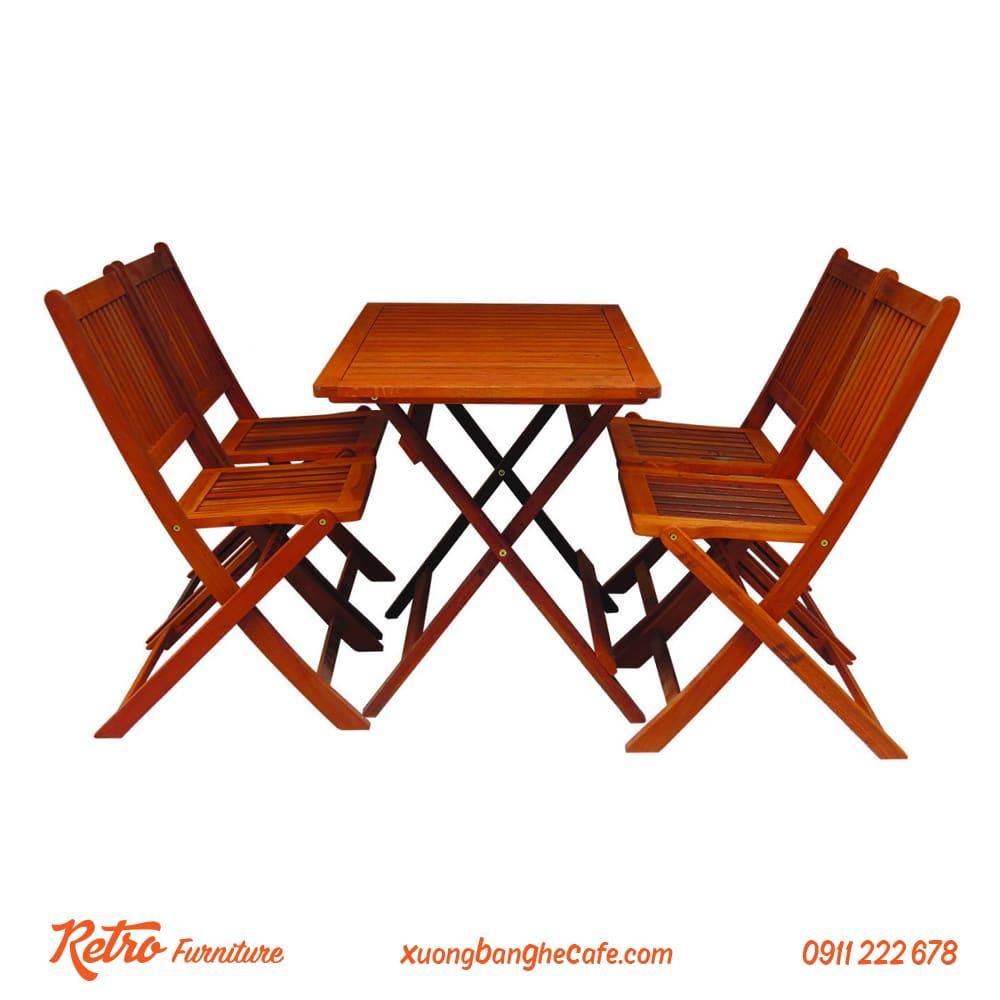 bàn ghế cafe gỗ xếp giá rẻ