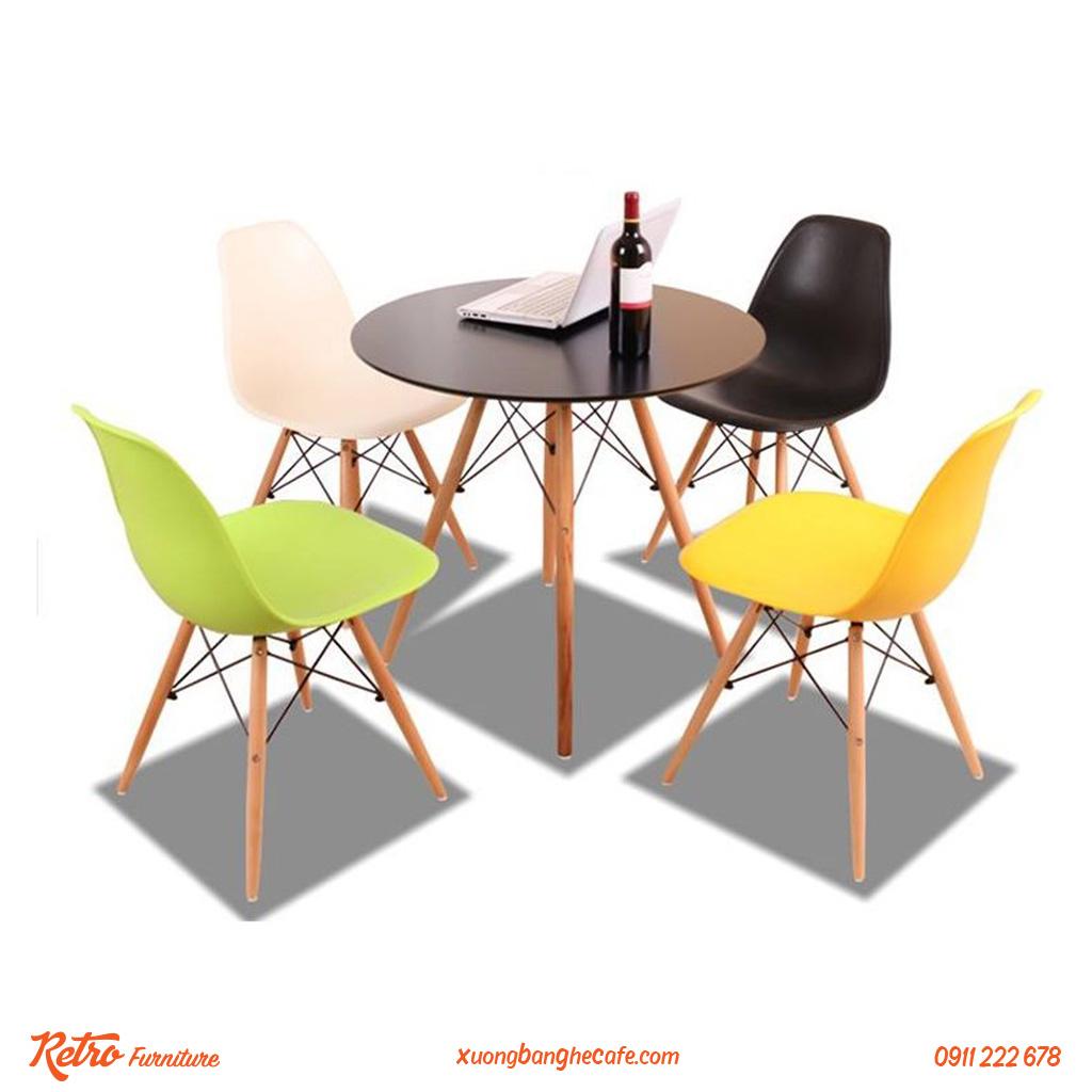 bàn ghế cafe nhựa chân gỗ