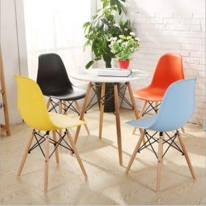 Ghế eames nhựa chân gỗ với màu sắc phong phú