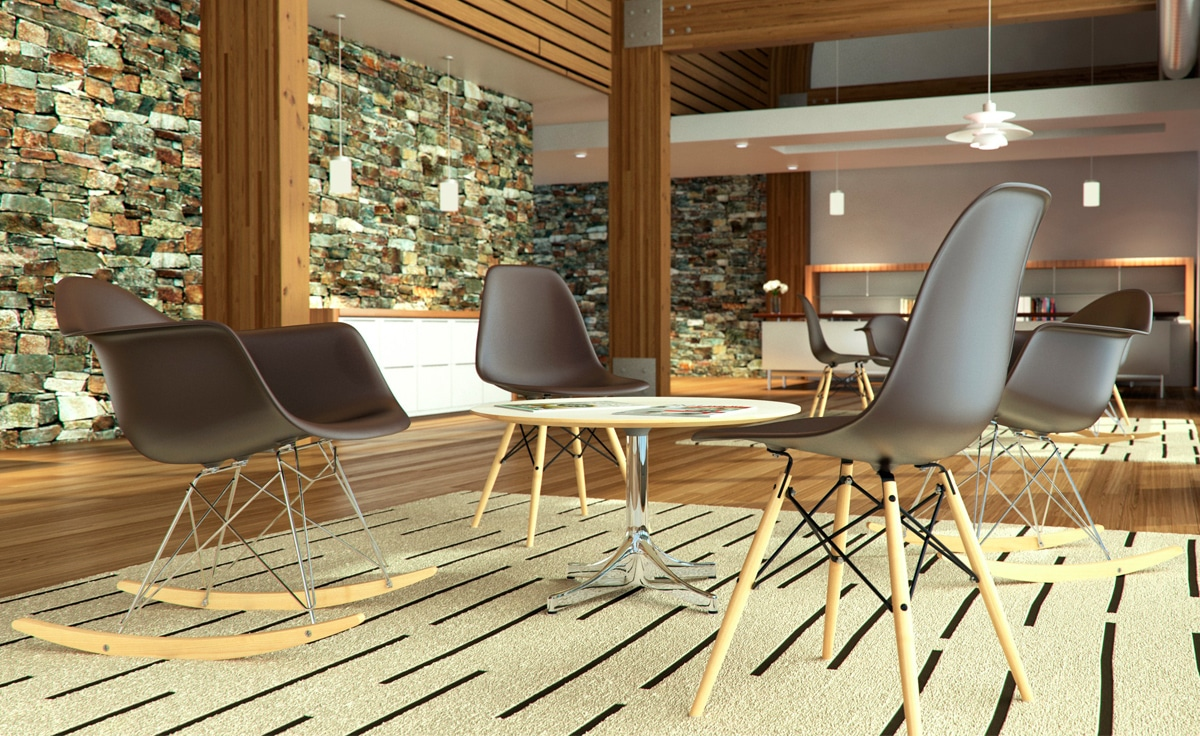 Ghế eames - bàn ghế cafe nhựa chân gỗ
