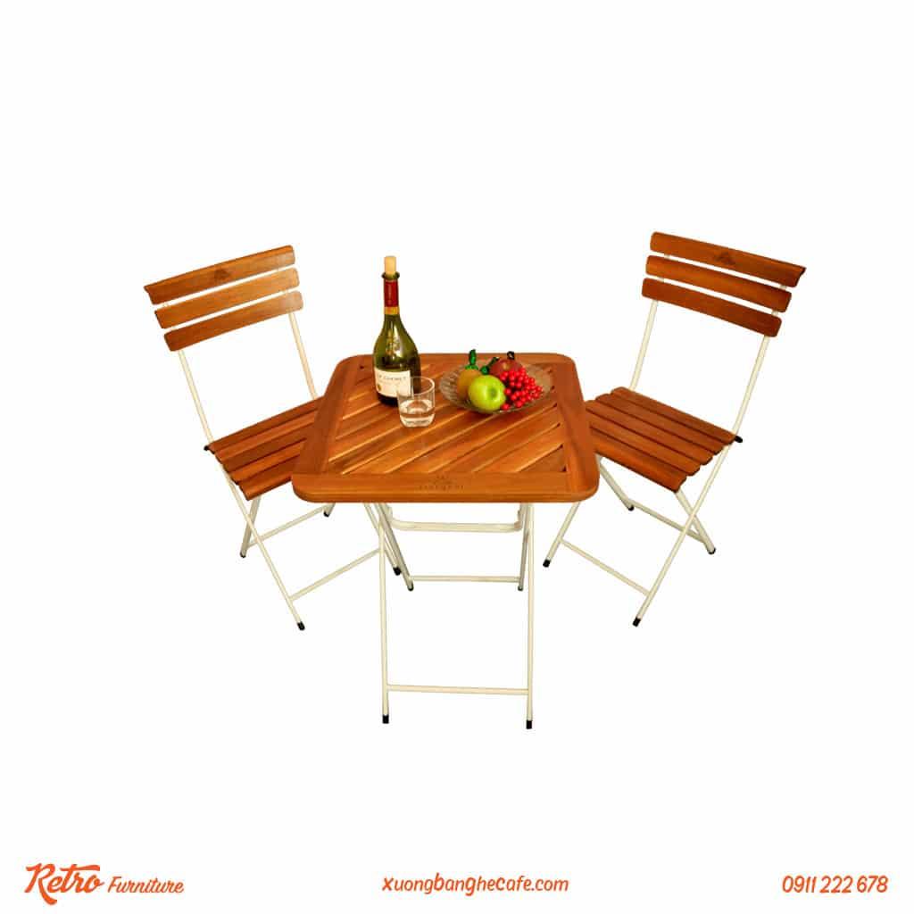 bàn ghế xếp sắt cafe