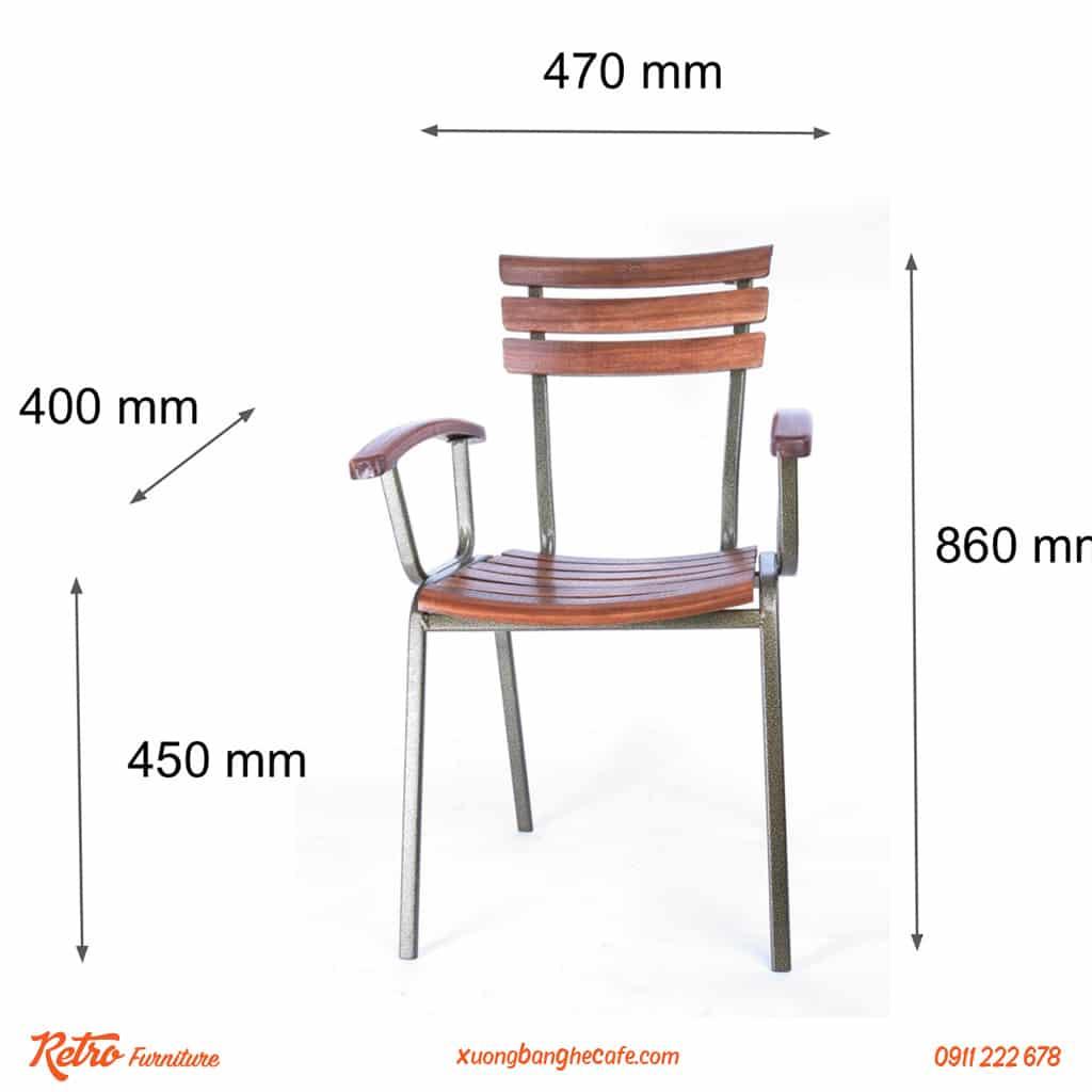 kích thước ghế cafe sân vườn