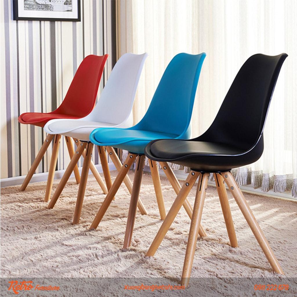 Ghế nhựa chân gỗ bọc nệm nhập khẩu P04