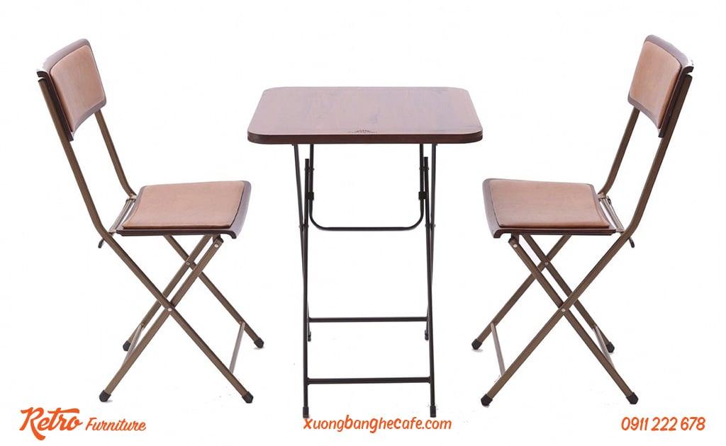Bộ bàn ghế xếp ngoài trời Leather Patio