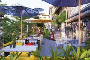 Quán cafe sân vườn kết hợp khéo léo các sác màu tươi tắn