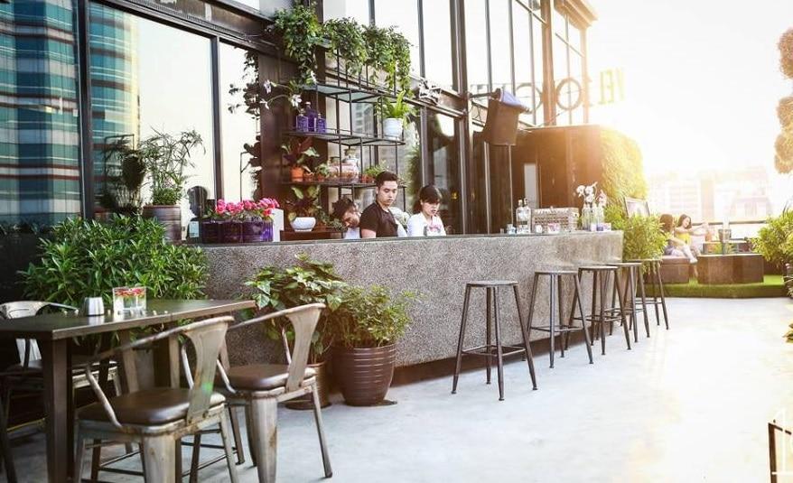 Quán cafe sân vườn có quầy bar ngoài trời, tại sao không thử nhỉ?
