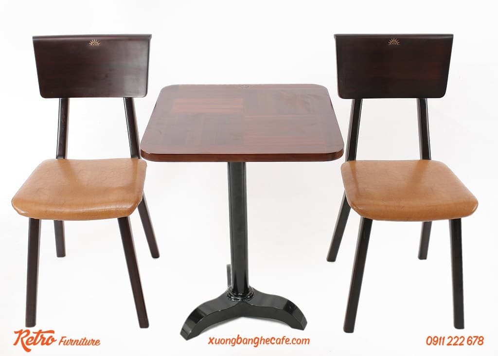Bàn ghế gỗ kết hợp chân sắt