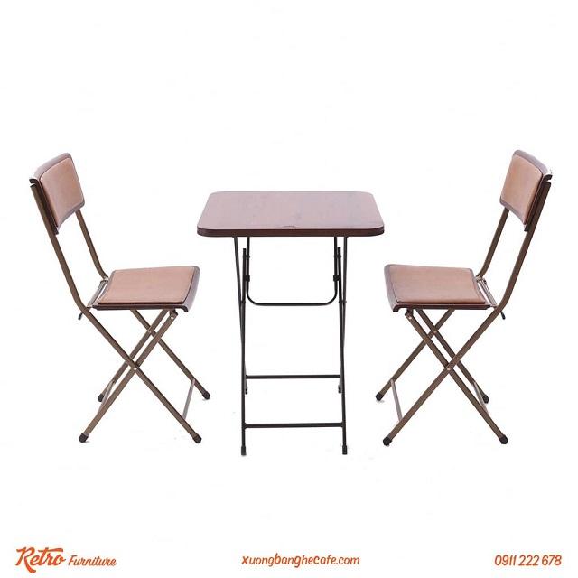 Bộ bàn ghế gỗ cafe xếp ngoài trời Leather Patio