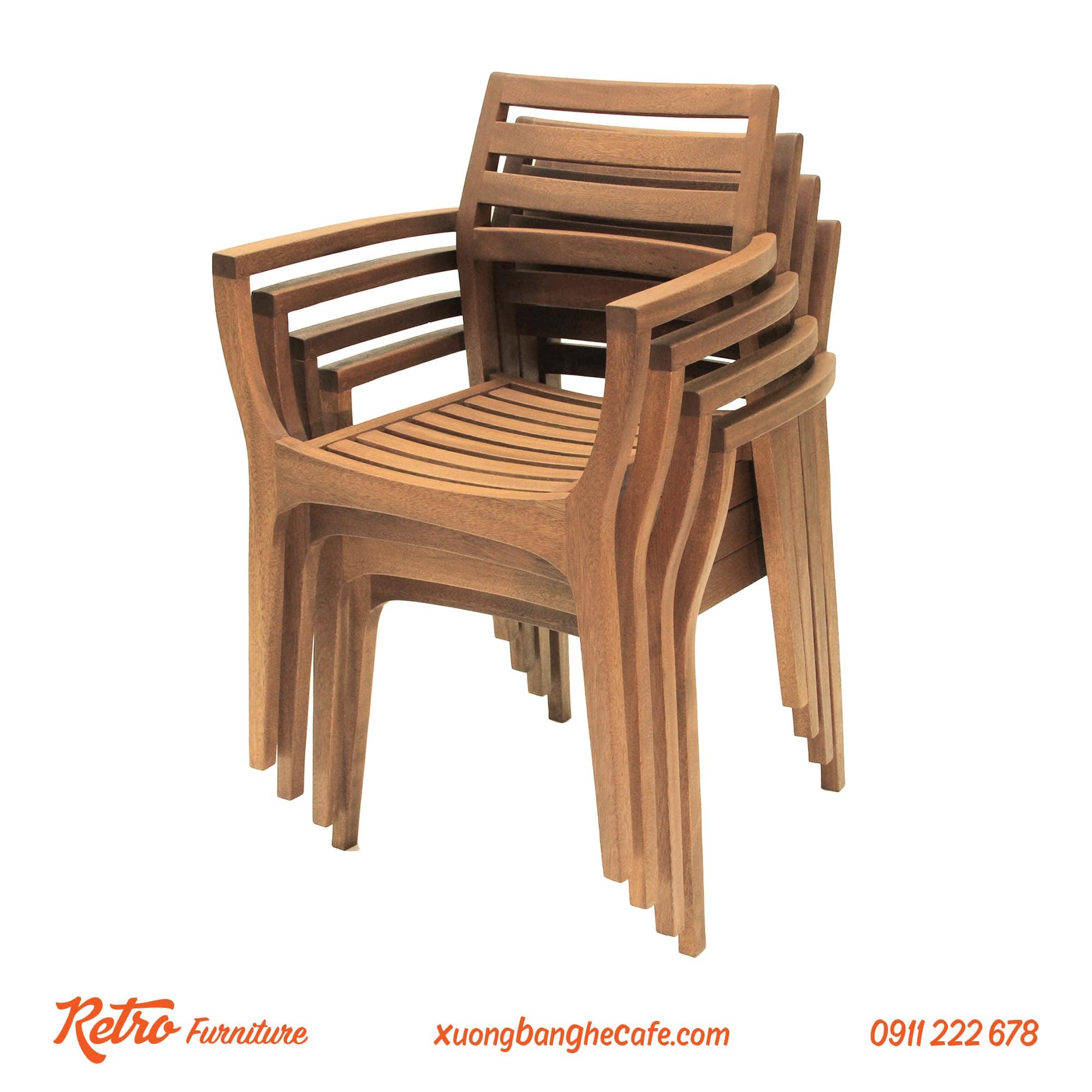 gế gỗ cafe sân vườn ngoài trời