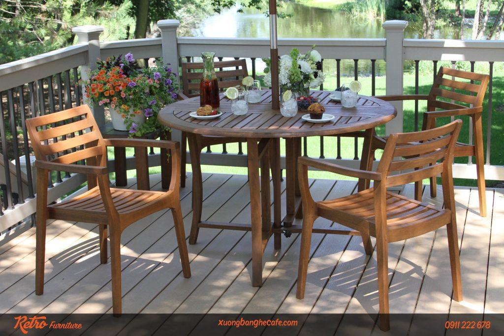 ghế cafe gỗ ngoài trời
