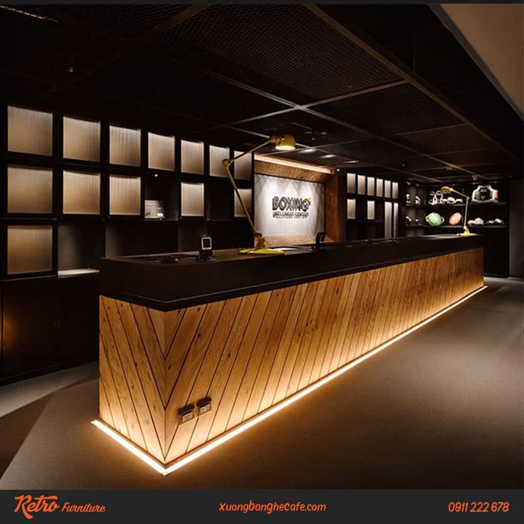 Quầy bar cafe gỗ thông đỏ Mỹ phong cách Retro