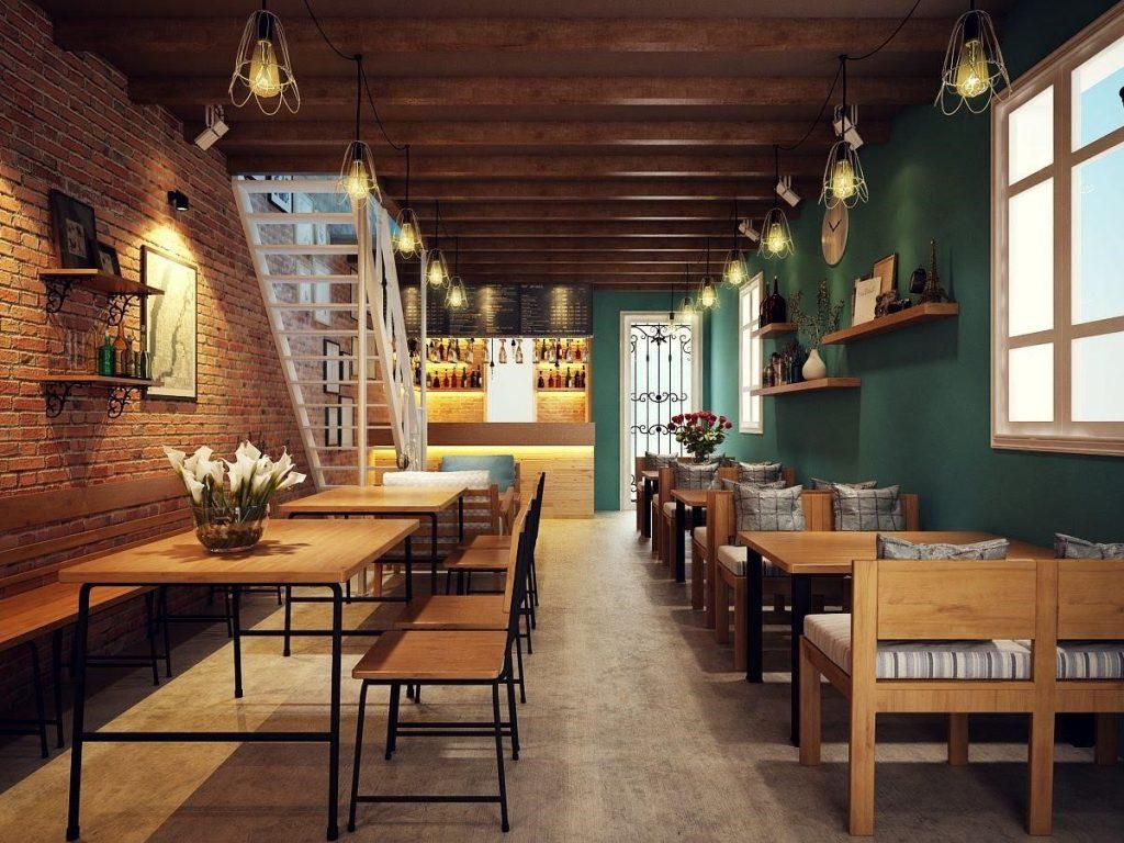 bàn ghế cà phê chân sắt mặt gỗ có tính thẩm mỹ cao