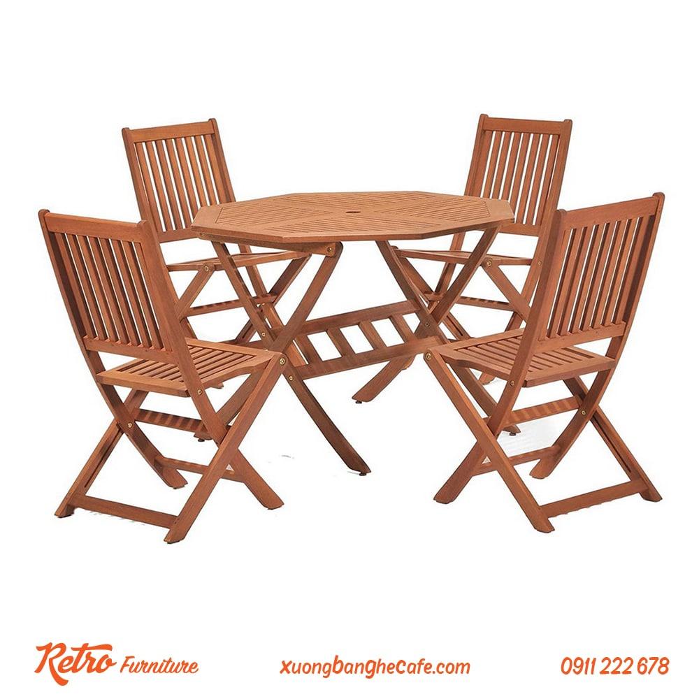 Bàn ghế gỗ xếp rất có rất nhiều ưu điểm tiện dụng