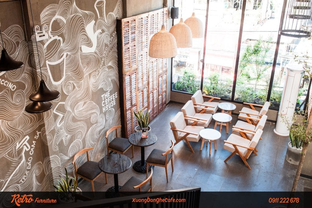 Ghế cafe C02 kết hợp với bàn gang đúc cao cấp tại The Coffee House