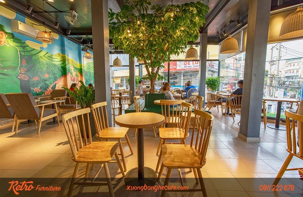 Ghế gỗ quán trà sữa, quán cafe Pinnstol cao cấp