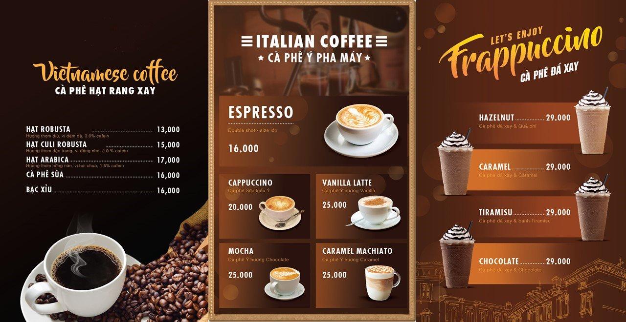 Sắp xếp chữ và hình ảnh trên nền cafe nâu ấm áp