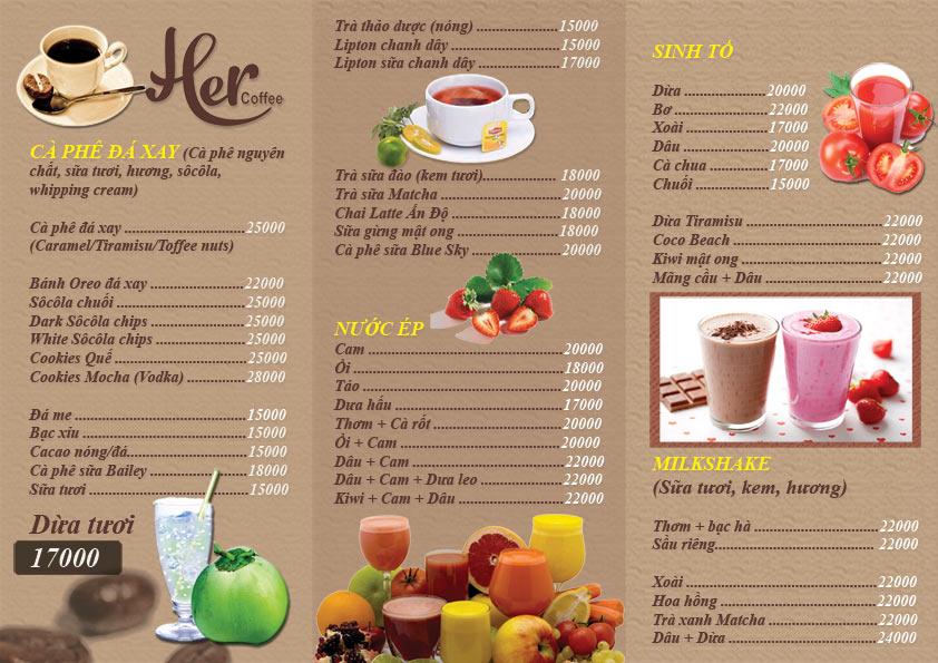Dạng menu gấp ba với thực đơn phong phú, hình ảnh đầy màu sắc